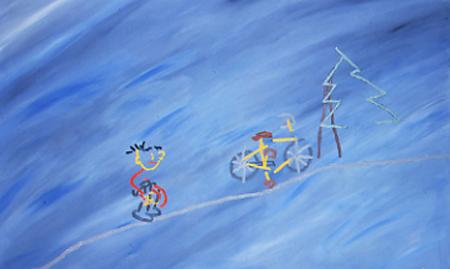 Müde ist der Bub vom Radeln, 90 x 145 , Öl auf Textil, 1982