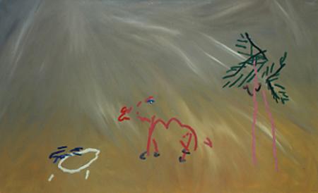 Oase, 90 x 145 , Öl auf Textil, 1982