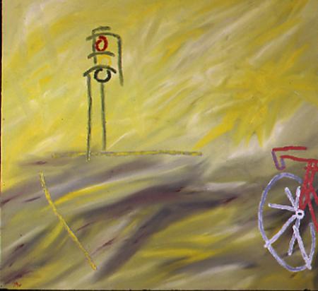 "Ampel Fahrrad, 100 x 110 , Öl auf Textil, 1983"""