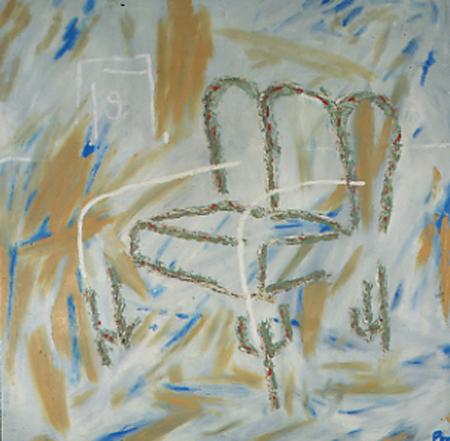Sessel, 100 x 100 , Öl auf Textil, 1983