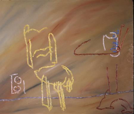 Cafe, 85 x 105 , Öl auf Textil, 1984
