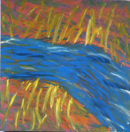 Bach, 100 x 100 , Öl auf Textil, 1984