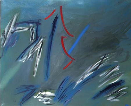 Rote Tanne, 100 x 120 , Öl auf Textil, 1985