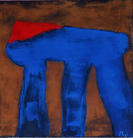 Nr.3 o.T., 90 x 90 , Pigment auf Öl-Firnis auf Textil, 1988
