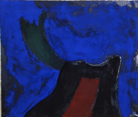 "Nr.4 o.T., 100 x 120 , Pigment auf Öl-Firnis auf Textil, 1988"""
