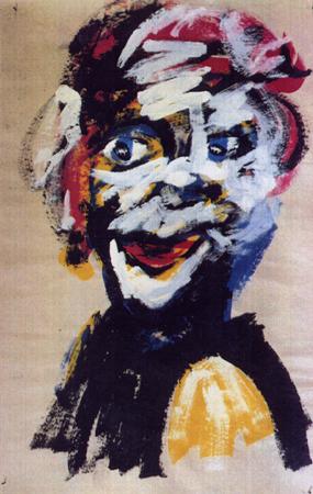 Frisurenmodell -1-, 65 x 100 , Dispersion auf Papier, 1988