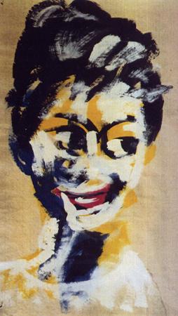 Frisurenmodell -2-, 60 x 100 , Dispersion auf Papier, 1988