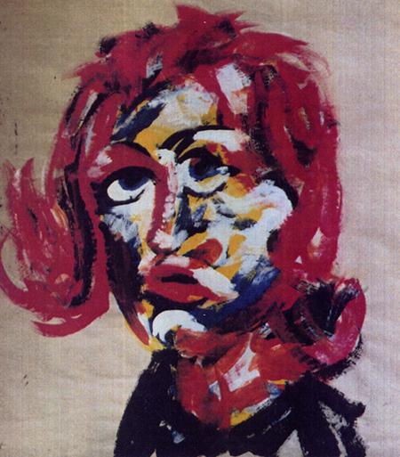Frisurenmodell -3-, 80 x 100 , Dispersion auf Papier, 1988