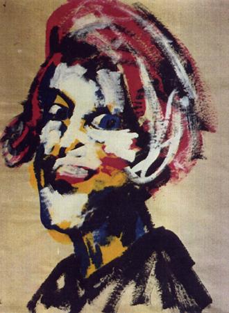 Frisurenmodell -4-, 70 x 100 , Dispersion auf Papier, 1988