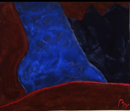 Nr. 2 o.T., 100 x 120 , Pigment auf Öl-Firnis auf Textil, 1989