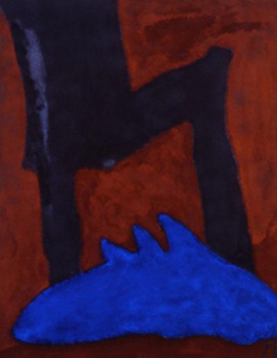 Nr. 1 o.T., 100 x 120 , Pigment auf Öl-Firnis auf Textil, 1990