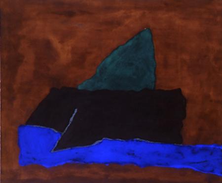 Nr. 4 o.T., 100 x 120 , Pigment auf Öl-Firnis auf Textil, 1990