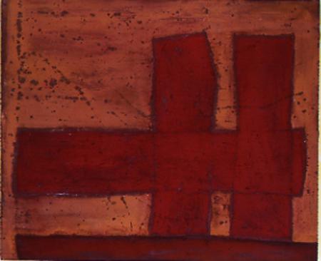 Nr. 5 o.T., 100 x 120 , Pigment auf Öl-Firnis auf Textil, 1992