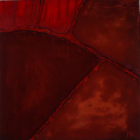 Nr. 4 o.T., 100 x 100 , Pigment auf Öl-Firnis auf Textil, 1993