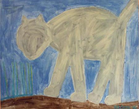 Katze, 120 x 150 , Acryl auf Hartfaser, 1996