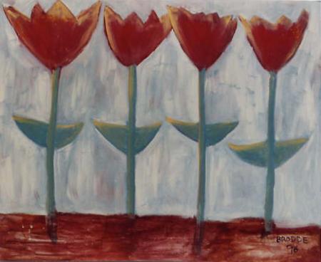 Tulpen*, 120 x 150 , Acryl auf Hartfaser, 1996