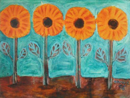 Sonnenblumen, 70 x 100 , Acryl auf Hartfaser, 1996