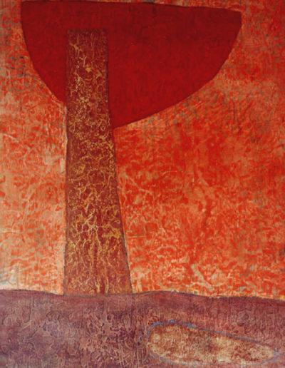 Feuerschale, 80 x 110 , Acryl auf Hartfaser, 1996