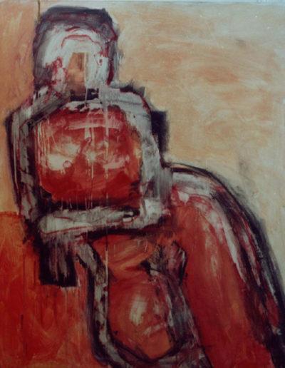 Akt rot, 120 x 150 , Acryl auf Hartfaser, 1996