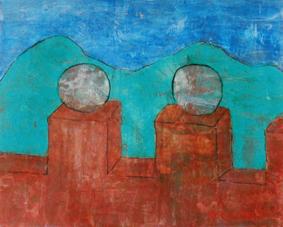 Burg, 120 x 150 , Acryl auf Hartfaser, 1997