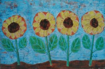 Sonnenblumen, 80 x 110 , Acryl auf Hartfaser, 1999