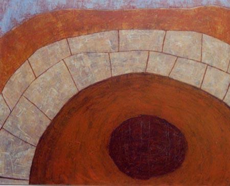 Rondeel, 100 x 120 , Acryl auf Textil, 2000