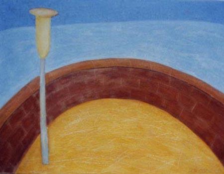Laterne am Meer, 80 x 110 , Acryl auf Textil, 2000