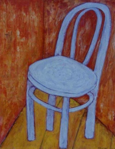 Stuhl blau, 40 x 60 , Acryl auf Hartfaser, 2001