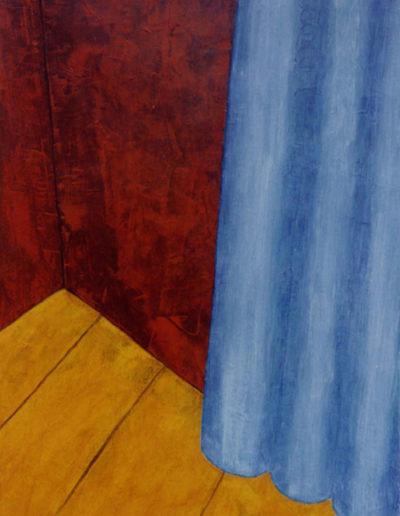 Ecke mit Vorhang, 80 x 110 , Acryl auf Textil, 2002