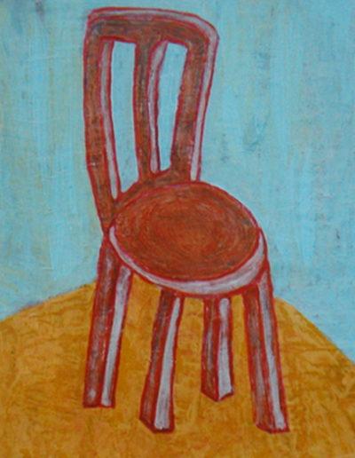 Stuhl rot, 35 x 45 , Acryl auf Hartfaser, 2002