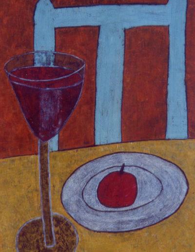 Wein und Frucht, 60 x 90 , Acryl auf Textil, 2002