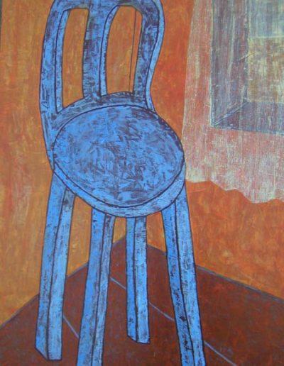 Stuhl blau, 90 x 137 , Acryl auf Hartfaser, 2002