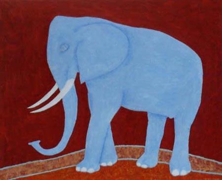 Blauer Elefant, 80 x 110 , Acryl auf Textil, 2002
