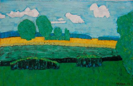 Landschaft Werle, 70 x 100 , Acryl auf Textil, 2003