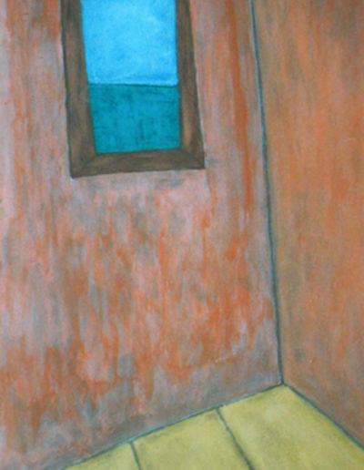 Aussicht brauner Rahmen, 70 x 100 , Acryl auf Textil, 2003