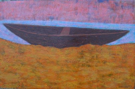 Boot schmal, 70 x 110 , Acryl auf Hartfaser, 2003