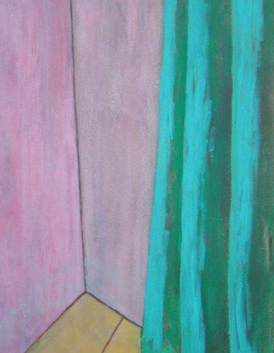 Vorhang grün, 70 x 110 , Acryl auf Hartfaser, 2003
