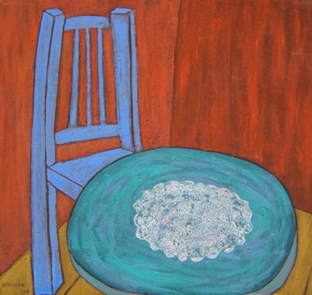 Spitzendecke, 90 x 95 , Acryl auf Textil, 2004