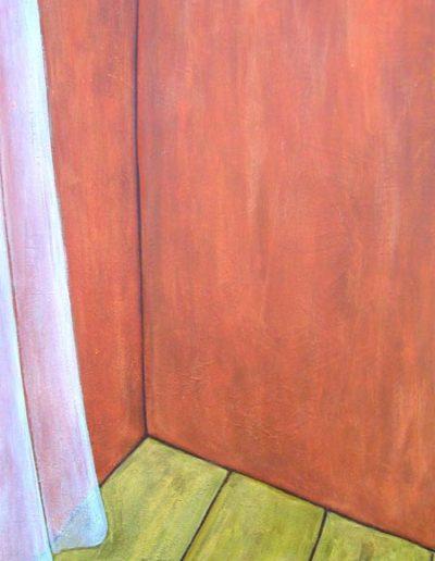Ecke Gardine, 70 x 110 , Acryl auf Hartfaser, 2004