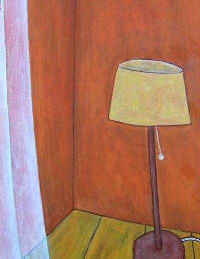 Ecke Gardine Stehlampe, 70 x 110 , Acryl auf Hartfaser, 2004