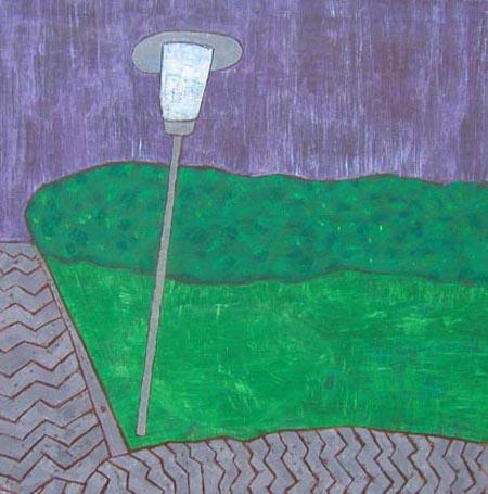 Ecke im Park*, 100 x 100 , Acryl auf Textil, 2005