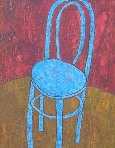 Stuhl blau, 60 x 107, Acryl auf Hartfaser, 2005