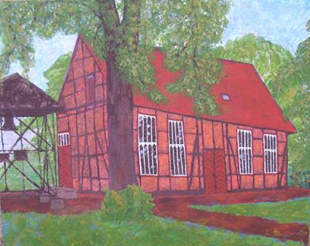 Kirche Neese, 50 x 80 , Acryl auf Harttfaser, 2005