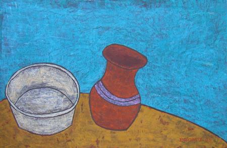 chüssel und Krug, 65 x 100 , Acryl auf Hartfaser, 2005