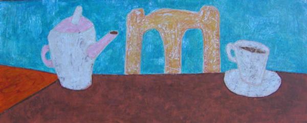 Tasse Stuhl Kanne, 50 x 123 , Acryl auf Hartfaser, 2005