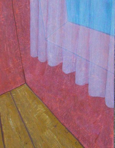 Aussicht blau,50 x 125 , Acryl auf Hartfaser, 2005