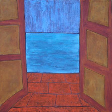 Aussicht Meer, 100 x 100 , Acryl auf Textil, 2006