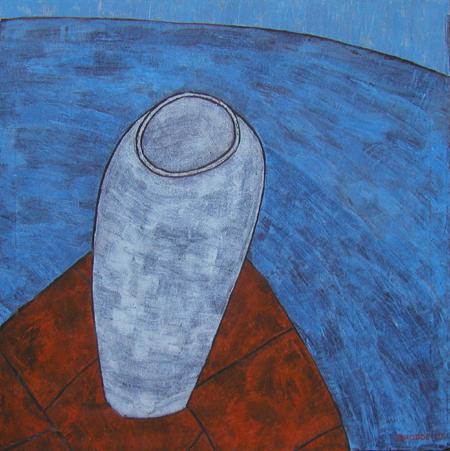 Vase, 100 x 100 , Acryl auf Textil, 2006