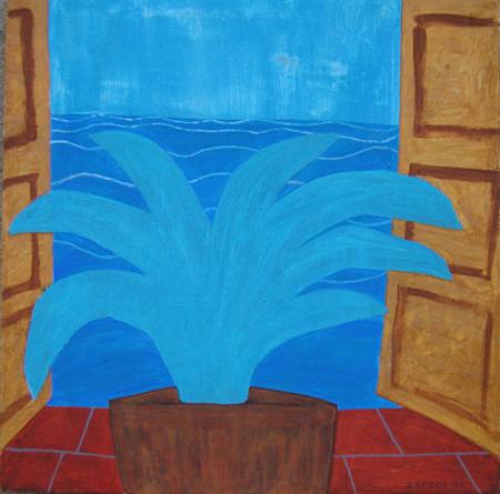 Aussicht Pflanze, 100 x 100 , Acryl auf Textil, 2006