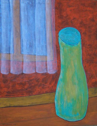 Gardine Vase*, 100 x 120 , Acryl auf Textil, 2006